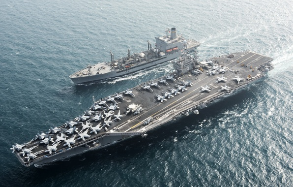 Картинка оружие, армия, флот, replenishment oiler USNS Pecos (T-AO 197), Aircraft carrier USS Harry S. Truman …