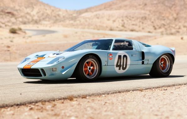 Картинка дорога, холмы, Ford, Le Mans, Форд, суперкар, классика, передок, 1968, GT40, Gulf Oil
