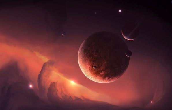 Картинка космос, звезды, туманность, планеты, кольца