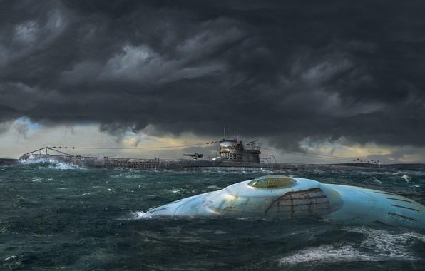 """Картинка волны, небо, тучи, океан, НЛО, U-99, немецкая подводная лодка, """"Летающая тарелка"""" третьего рейха"""