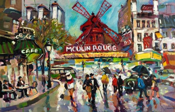 Картинка город, люди, дождь, краски, Франция, Париж, современный, картина, арт, кафе, кабаре, живопись, разноцветные, холст, импрессионизм, …