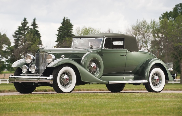 Картинка ретро, зелёный, передок, 1933, Twelve, Пакард, Convertible Coupe, Твэлв, кабриолет купе, Packard