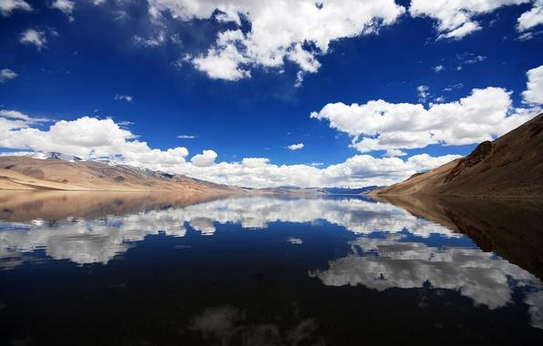 Картинка облака, пейзаж, горы, природа, река, nature, mountains, view, clouds, lakes