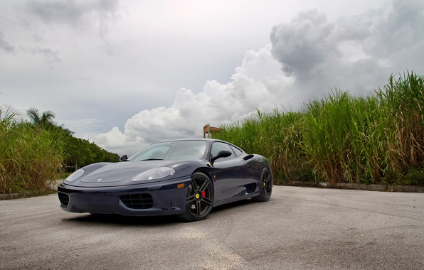 Картинка тюнинг, блеск, суперкар, диски, двухместный, Ferrari 360, flip-up фары, спортивный автомобиль