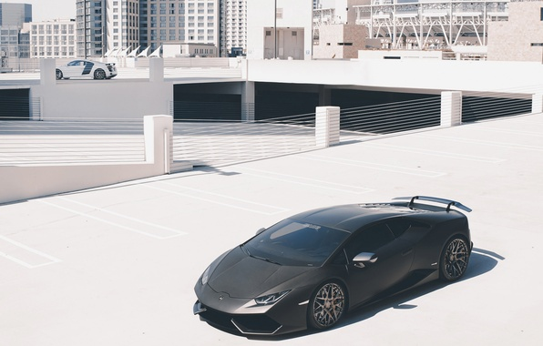 Картинка авто, Audi, Lamborghini, суперкар, стоит, ламборгини, Huracan, GMG, в сторонке