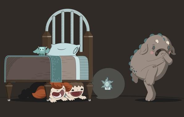 Картинка ночь, дети, страх, ситуации, кровать, монстр, situations, ночник