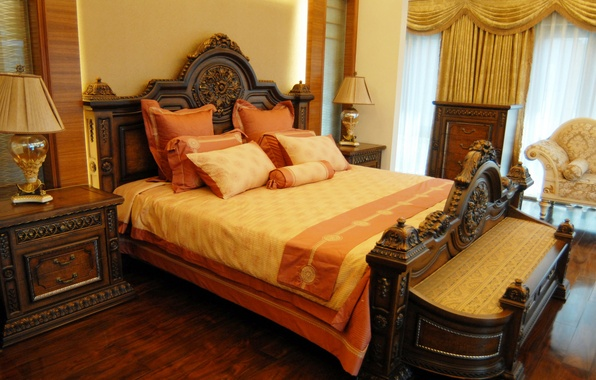 Картинка дизайн, стиль, лампа, кровать, интерьер, кресло, подушки, спальня