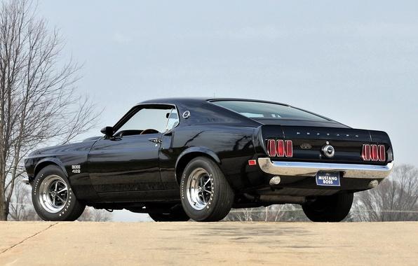 Картинка черный, mustang, мустанг, 1969, сзади, ford, мускул кар, black, форд, muscle car, boss, 429