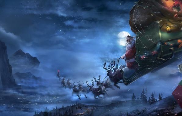 Картинка зима, снег, полет, ночь, луна, новый год, арт, подарки, упряжка, сани, олени, санта, клаус, Brian …