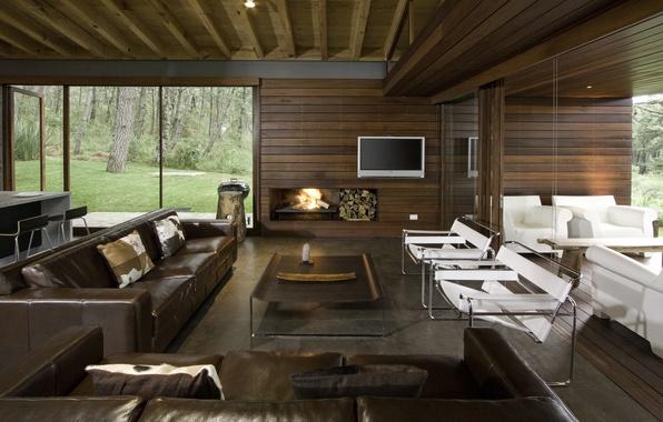 Картинка мебель, интерьер, телевизор, камин, диваны, крксла