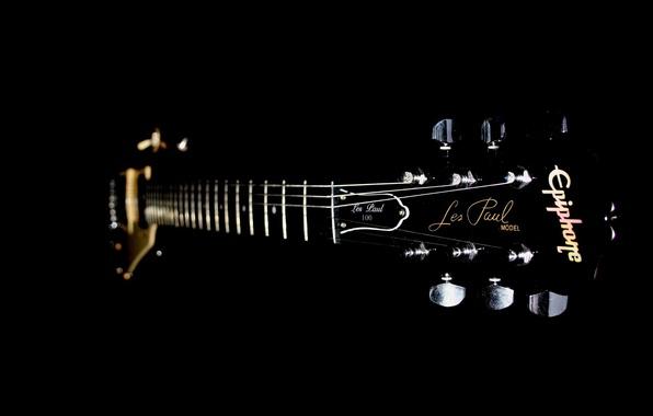Картинка гитара, струны, гриф, лады, чёрный.фон, дэка, калки