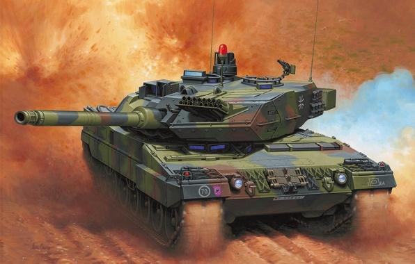 Картинка рисунок, танк, германия, Enzo Maio, бундесвер, ОБТ, Леопард 2А6