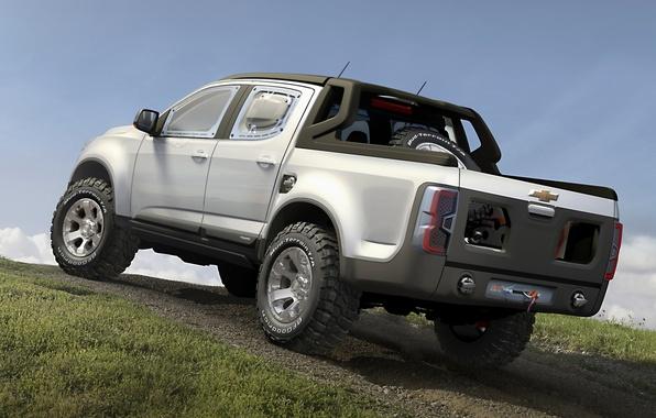 Картинка Concept, небо, серый, Chevrolet, холм, Колорадо, джип, внедорожник, концепт, Шевроле, вид сзади, пикап, Rally, Ралли, …