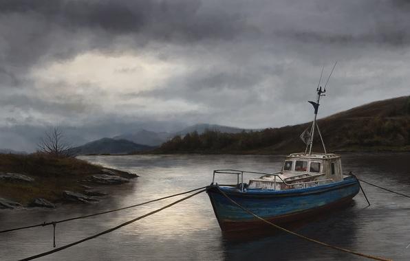 Картинка вода, река, пасмурно, корабль, арт, катер, тросы