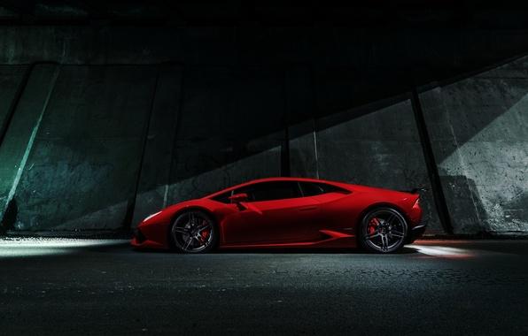 Картинка Lamborghini, Red, Chicago, Side, V10, Supercar, Exotic, Huracan, LP640-4
