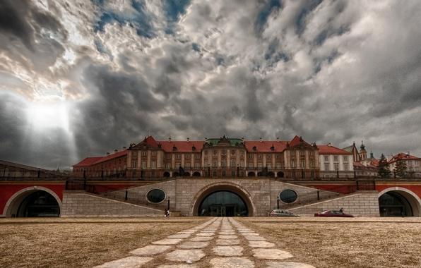 Картинка небо, облака, Польша, Варшава, вид со стороны Вислы, Королевский дворец
