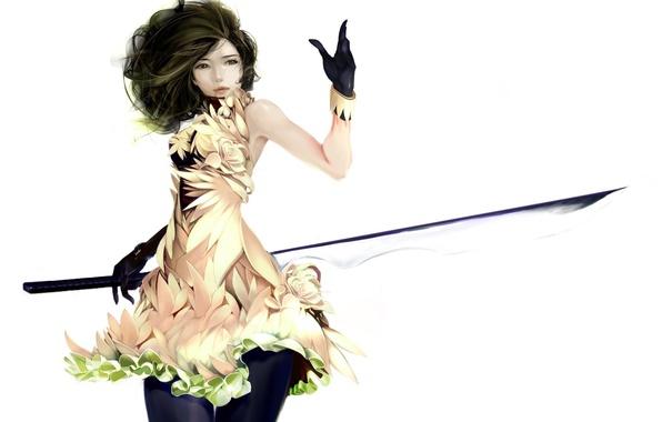 Картинка девушка, платье, арт, белый фон, перчатки, взгляд. волосы