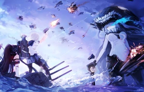 Картинка вода, оружие, девушки, корабли, аниме, арт, сражение, magicxiang, kantai collection, wo-class aircraft carrier, yamato, hamakaze