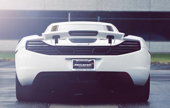 Картинка белый, суперкар, white, supercar, back, макларен, mp4-12c, Mclaren