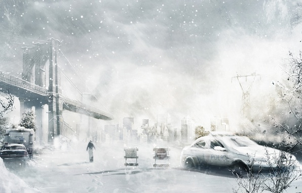 Картинка зима, машина, снег, мост, город, человек, арт, руины, постапокалипсис