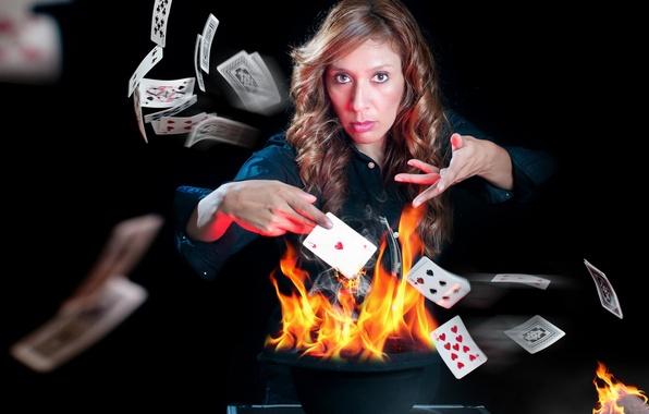 Картинка карты, девушка, огонь, игра, ситуация
