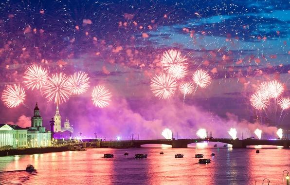 Картинка ночь, city, город, огни, салют, colorful, water, night, fireworks, reflection