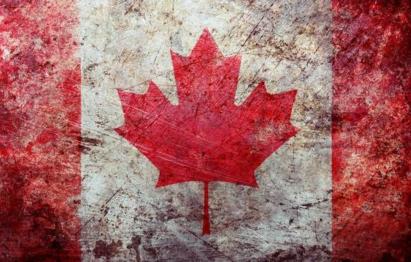 Картинка поверхность, потертость, обои, текстура, флаг, канада, texture, wallpapers, grunge, flag, canadian