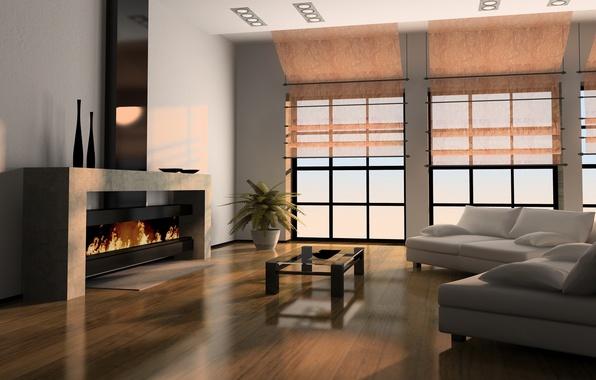 Картинка комната, интерьер, окно, камин, столик, диваны, гостиная