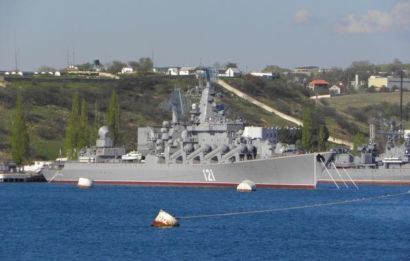 Картинка Море, Порт, Корабль, Москва, ВМФ, Россия, Russia, sea, Moscow, Крейсер, ship, port, Cruiser, Rocket, 121, …