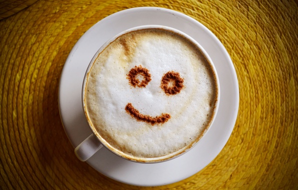 Фото обои блюдце, чашка, шоколад, молоко, улыбка, кофе
