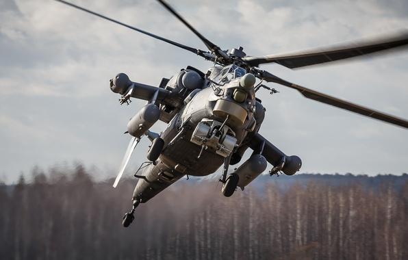 Картинка полёт, вертолёт, российский, ударный, Mi-28