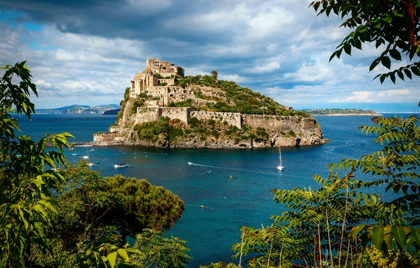 Картинка море, лето, Италия, Арагонский замок, остров Искья