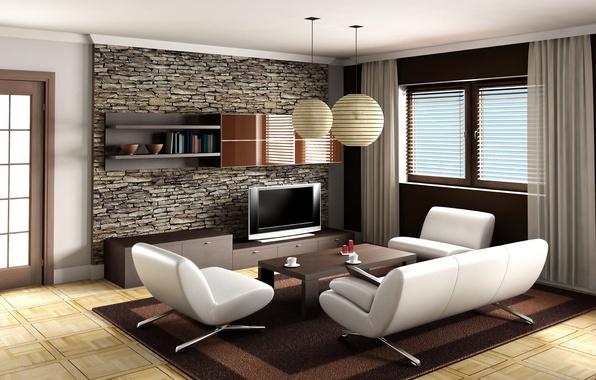 Картинка диван, ковер, кресло, телевизор, окно, столик
