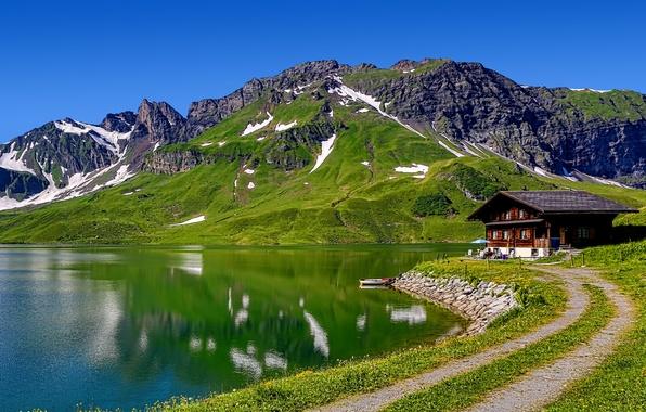 Картинка небо, горы, озеро, дом, лодка