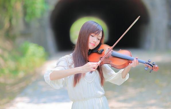 Картинка девушка, музыка, фон, скрипка
