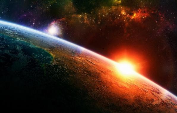 Картинка солнце, звезды, атмосфера, Планета
