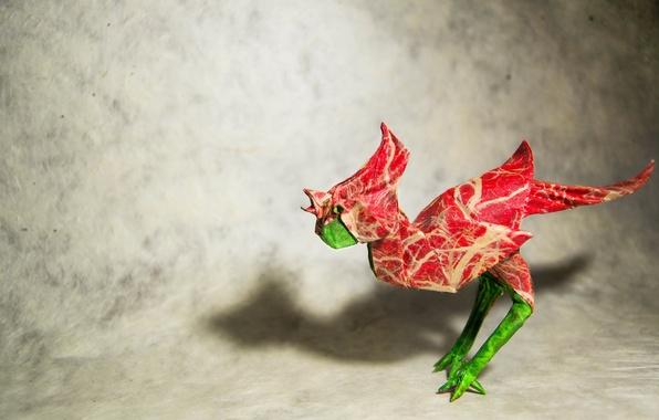 Картинка птица, оригами, петух