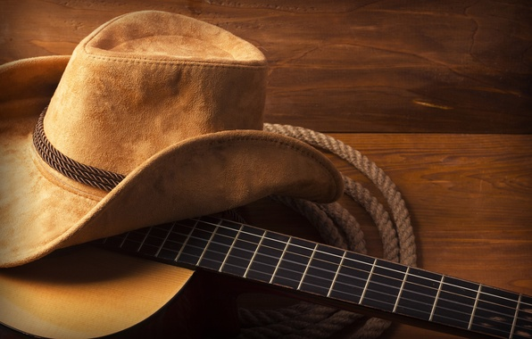 Картинка guitar, hat, wood, cowboy, rope