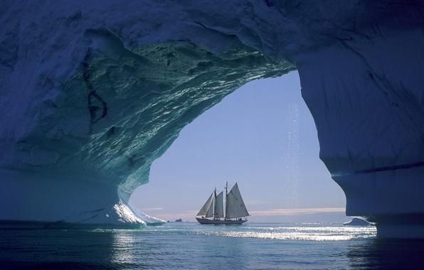 Картинка лед, море, корабль, парусник