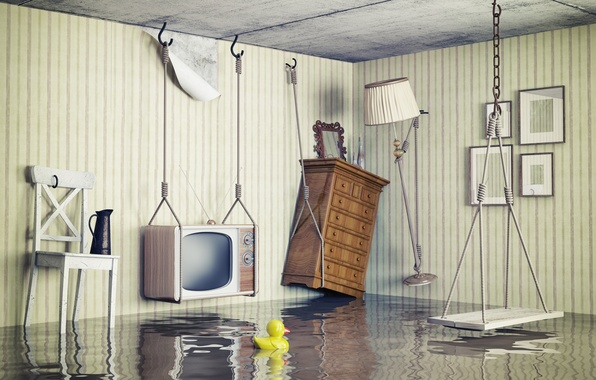 Картинка креатив, качели, комната, интерьер, телевизор, стул, светильник, шкаф, потоп, уточка