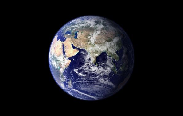 Картинка космос, земля, пейзажи, вид, планета, земной шар