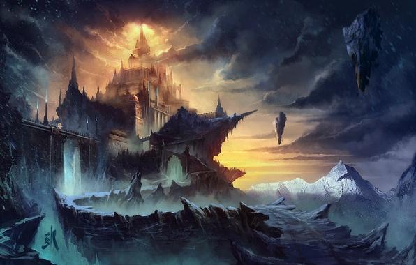 Картинка снег, пейзаж, горы, тучи, замок, скалы, арт, метель, фантастический мир, летающие, Sergey Zabelin