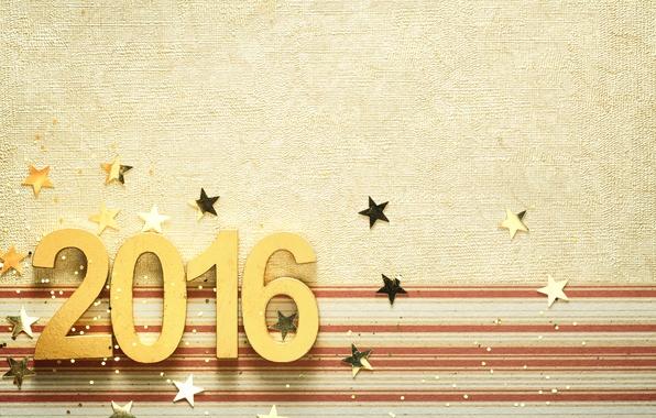 Картинка Новый Год, цифры, golden, New Year, Happy, 2016