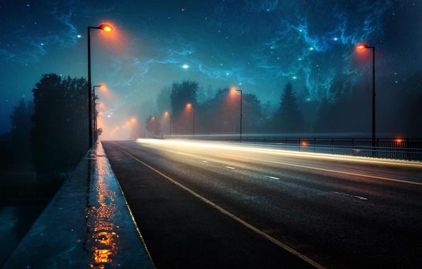 Картинка дорога, космос, свет, пейзаж, lights, дождь, вечер, space, rain, roads, evening, туманности, nebulae, lighter