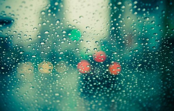 Картинка стекло, цвета, капли, макро, фото, дождь, настроение, обои, окно, wallpapers, боке