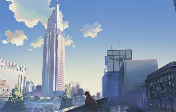 Картинка небо, город, дома, небоскребы, Аниме, парень, стоит, makoto sinkaj, gorod