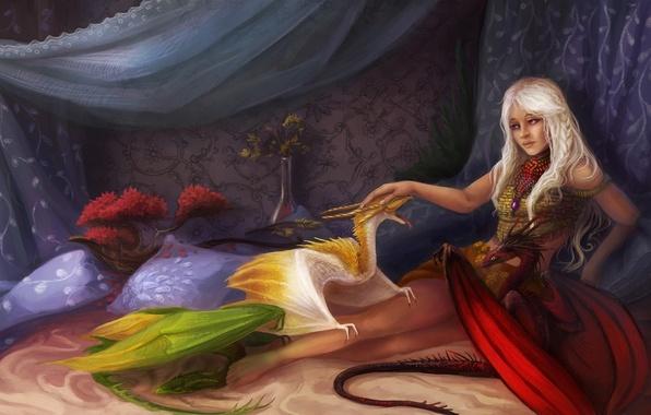 Картинка девушка, кровать, драконы, подушки, фэнтези, арт, Game of Thrones, детеныши