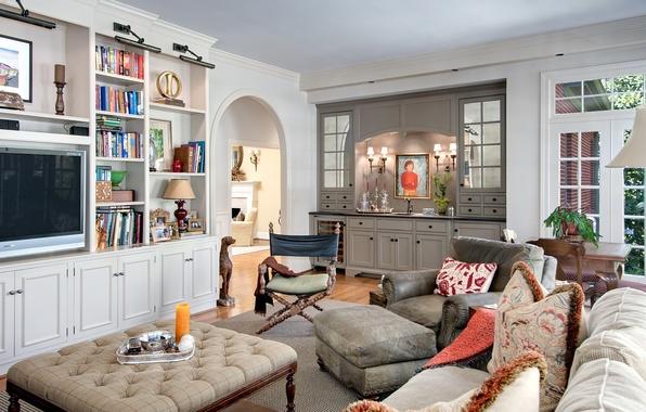 Картинка комната, книги, интерьер, картина, кресло, подушки, телевизор, гостиная