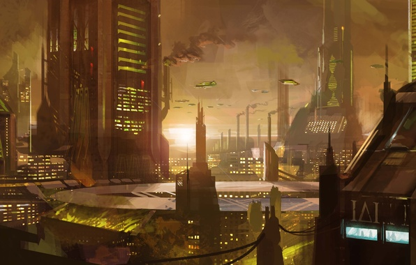 Картинка закат, трубы, город, будущее, фантастика, транспорт, дым, здания, небоскребы, арт
