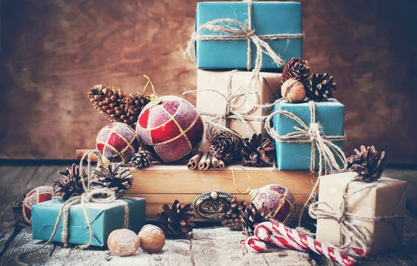 Картинка ретро, шары, Рождество, подарки, Новый год, орехи, Christmas, шишки, New Year, gifts